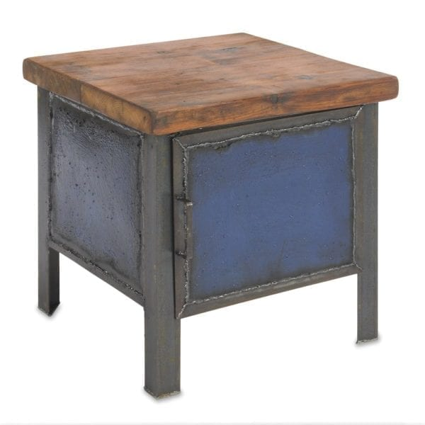 Blue Cabinet End Table