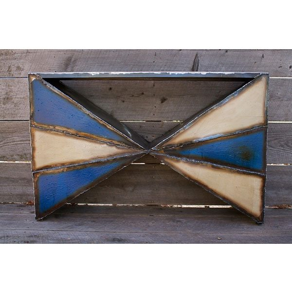 Blue and White Triangle Table Square
