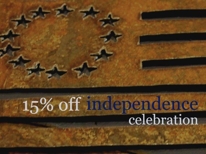 Celebrating Independence – 15% Off!